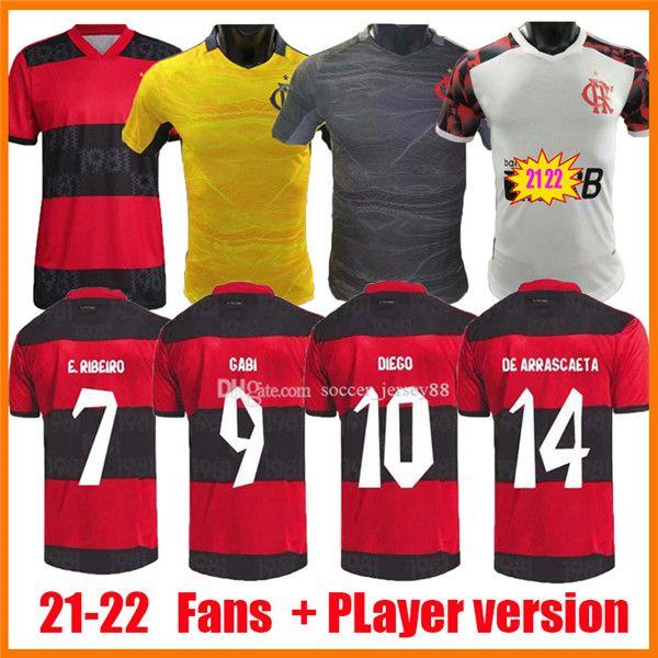 2021 2022 CR Flamengo Soccer Jerseys Fans Versión Jugador Black White Flemish 22 22 Arrascaeta B.Henrique Gabriel B. Diego Camisa De Futebol Camisetas de fútbol flamenco
