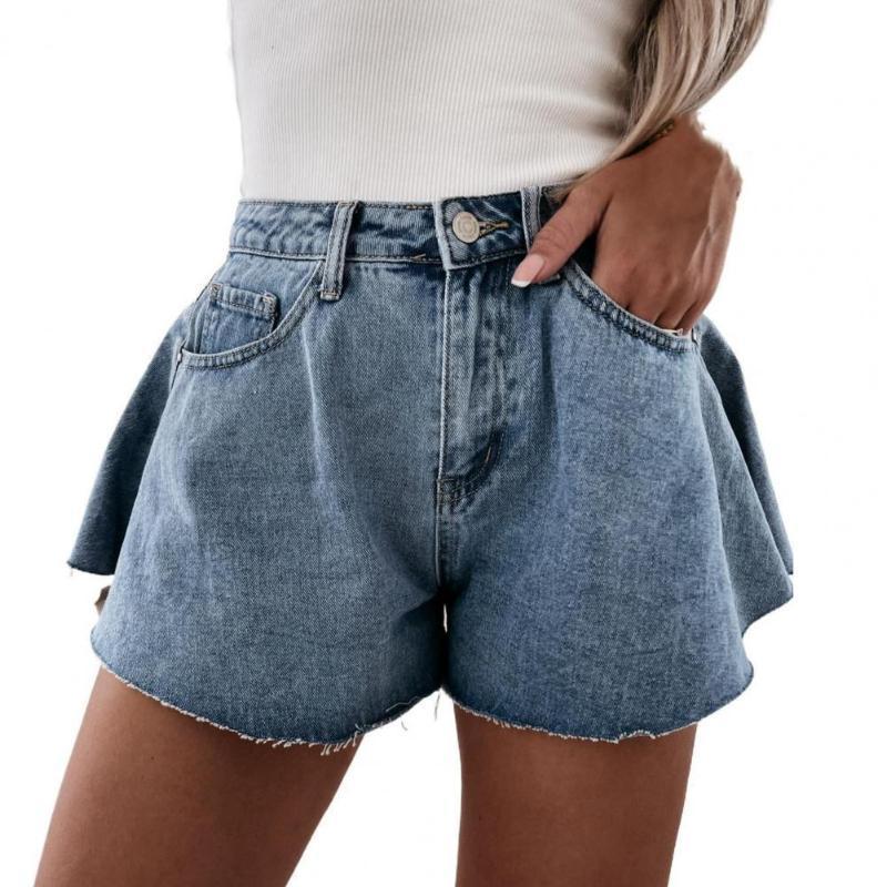 Women's Shorts Casual Women Summer High Waist Wide Leg Slim Denim Blue Multi Pockets Button Elegant Office Lady Jean