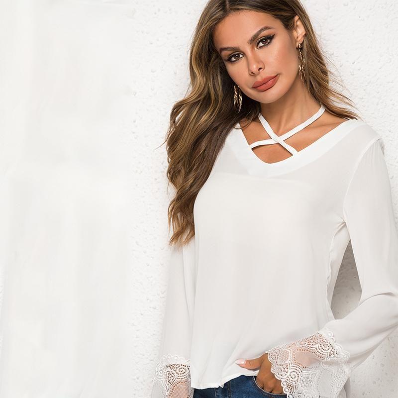 Women Blouse Women's Shirt 2021 Womens Tops And Blouses Blusa Feminina Shirts Long Sleeve Cross Bandage V-neck Blusas