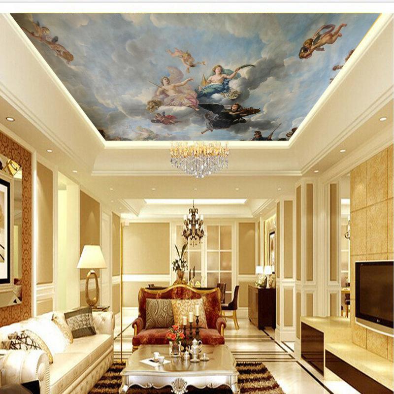 Muralendecke Europäischen Stil Engel Zenith Wandbild 3D Wallpaper 3D Wandpapiere für TV Kulisse 1453 V2