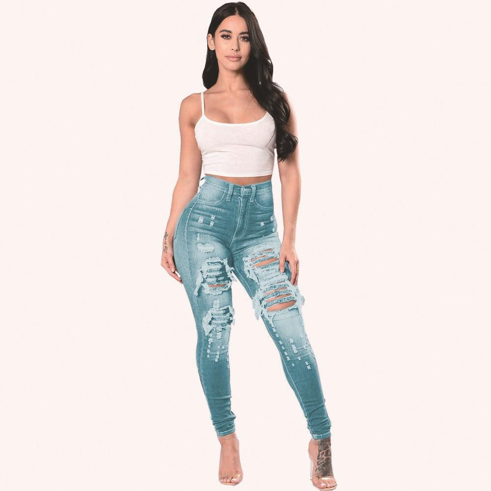 Autumn/winter pant Women's Jeans With Extra Size And Holes Are Available DHL