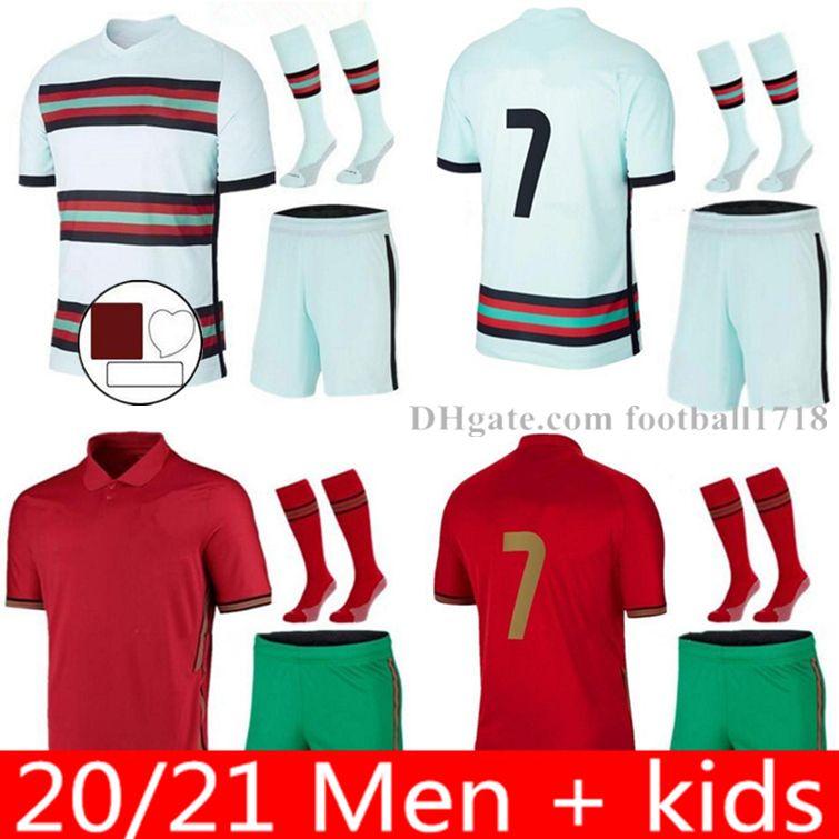 호나우두 포르투갈어 축구 유니폼 Joao Felix 2021 Bruno Fernandes Football Shirt 20 22 Portuguesa 남자 키트 세트 유니폼 Camisetas de Futbol Maillot 발