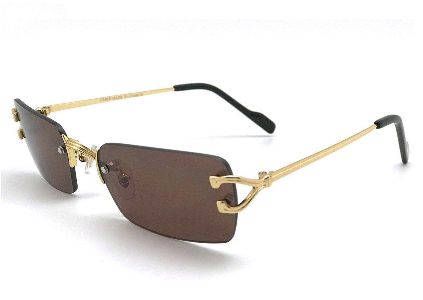فرنسا آيترس النظارات الشمسية الذهبي الفضة سبيكة الساقين بدون شفة إطارات الأزياء الجاموس القرن نظارات واضح أسود براون عدسة للرجال النساء oculos دي سول