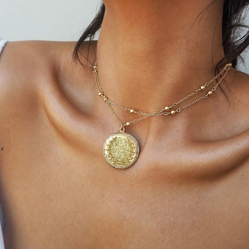 PCS / SET Mujeres Collares de oro Conjunto Hoja Retro Redondo Cadena de cuentas geométricas Multilapa Partido Collar Accesorios de Joyería Colgante