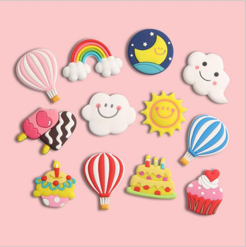 Fridge Cartoon Magnets PVC Colorful Magnet Sticker Plastic Refrigeator 3D Cute Stickers Fishes Cars Animals Cloud Home Furnishing Decorate