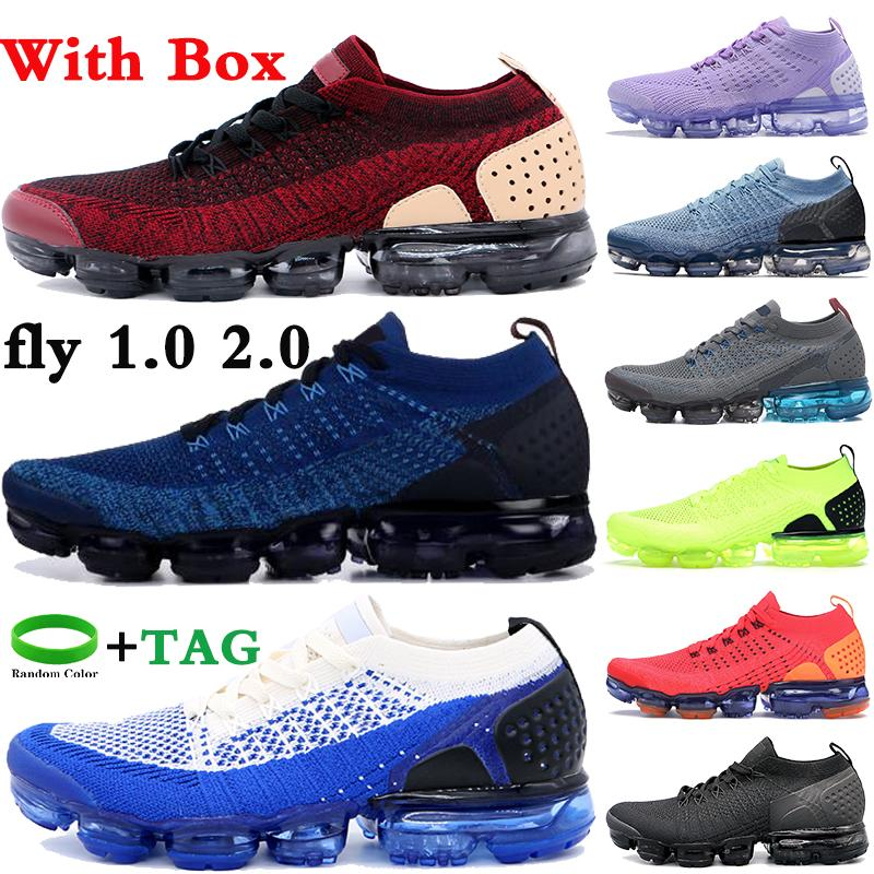 Avec Box Fly 1 2.0 Chaussures de course Gym Bleu Triple Noir Blanc Blanc Cool Cool Team Red Femmes Femmes Mens Sneakers US 5.5-11