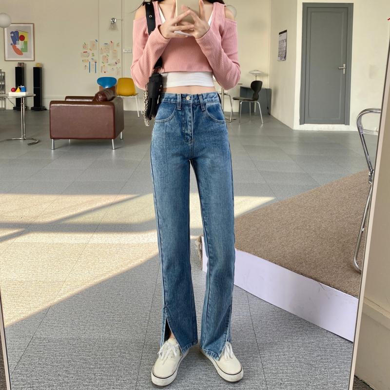 Split Black Jeans Primavera para mujer 2021 Tallas de cintura alta delgadas