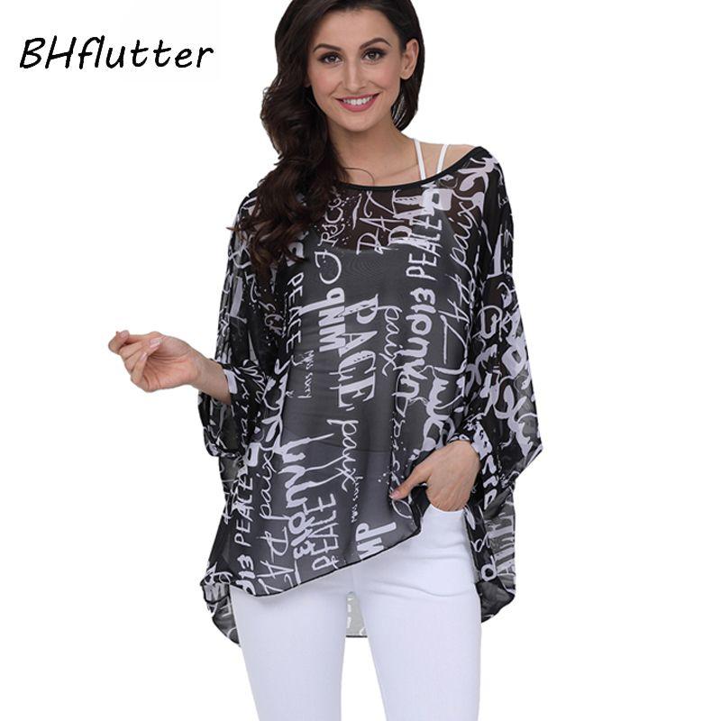 Bhffutter 4XL 5XL 6XL Artı Boyutu Kadın Giyim Yeni Şifon Bluz Gömlek Batwing Kol Mektuplar Baskı Yaz Tops Bluzlar 210402