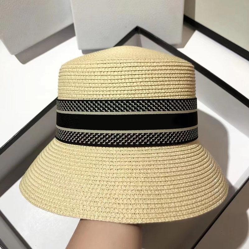 Fashion Donne Designer Paglia Cappelli Cappelli Ampio Brim Cap Secchio Cappello Cappello Gorro Marchio famoso Alta qualità Prezzi all'ingrosso 2105072SX