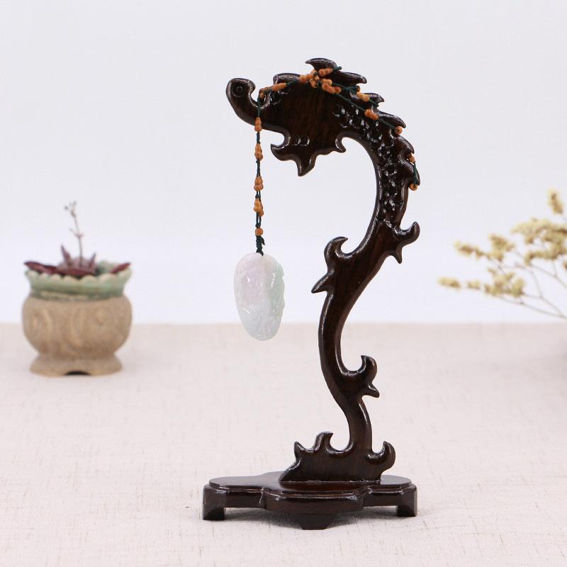 African Ebony Bijoux Ornements Afficher le Collier Complexe Dragon Jade Cinde Pendentif Cadre en bois Cadre en bois Professeurs de tir de bois