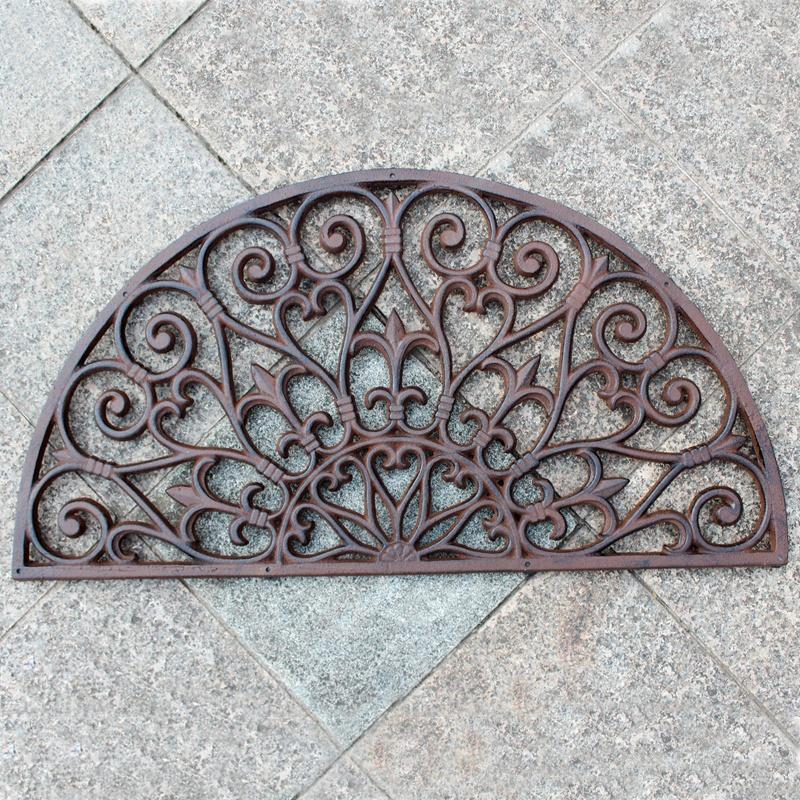 Cast Iron Doormat Half Circle Moon Antique Style Decorative Metal Door Mat Brown Vintage Home Garden Yard Patio Grassland Doorway Ornament Crafts Gardening