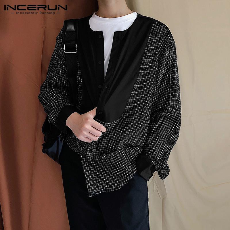 남성 한국어 스타일 그리드 블라우스 느슨한 버튼 탑스 패션 체크 무늬 패치 워크 남성 셔츠 긴 소매 옷깃 Camisa 플러스 사이즈 남성 캐주얼