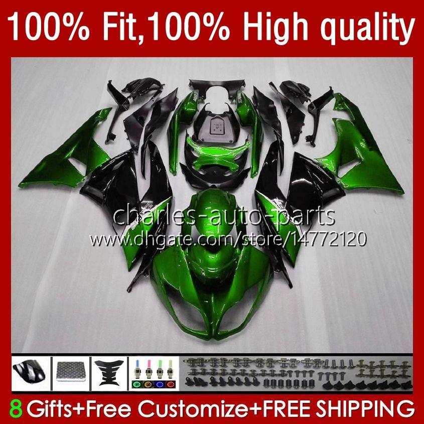 Injektionsfeedningar för Kawasaki Ninja 600cc ZX 6R 6 R 636 600 CC 2009-2012 13NO.0 ZX600 ZX636 ZX6R 09 10 11 12 ZX-636 ZX600C ZX-6R 2009 2010 2011 2012 OEM Bodys Factory Green
