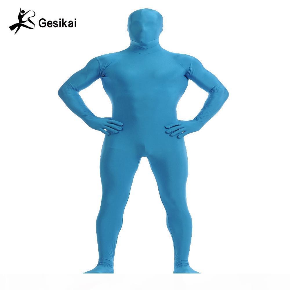 Gesikai Men's Spandex Zentai Lycra Full Body Tuta da uomo Zentai Suit Personalizzato Second Skin Tights Suit Costume di Halloween
