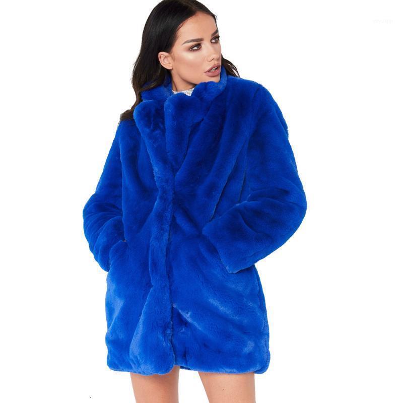 Frauen winter lose flauschige faux pelzmantel blau mädchen dicke warme pelzige jacke windbreaker mode lange mantel damen kleidung hot1