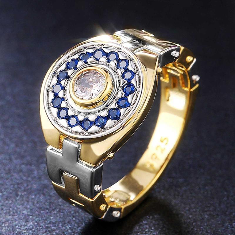 Zwei Ton Design Brilliant Cubic Zirkonia Einzigartige Weibliche Ringe Mode Uhrenförmige Frauen Hochzeit Engagement Schmuck