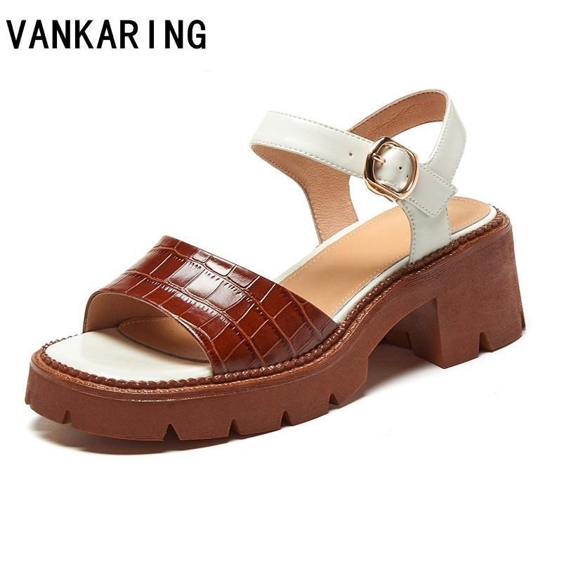 Sandali da donna Aprire la punta Casual Strada per caviglia Casual Mid Wedge Vegan Piattaforma Chunky Pelle Gladiatore Donne Donne Delle Scarpe da spiaggia Delle Scarpe da spiaggia