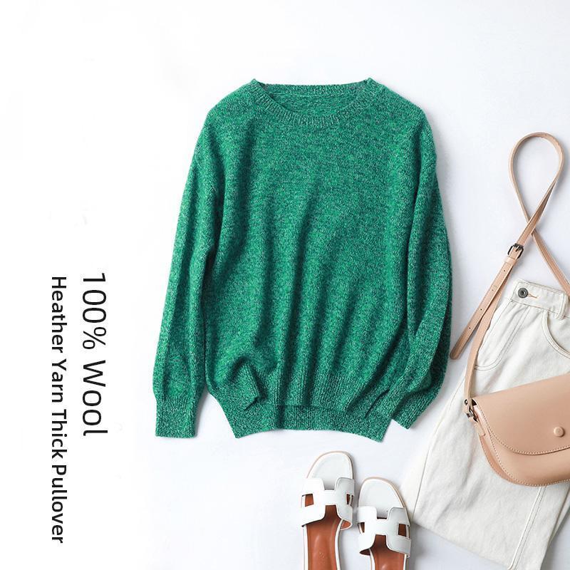 여성용 스웨터 2021 Heahter 컬러 원사 양모 스웨터 두꺼운 느슨한 둥근 목 100 % 순수 풀오버 O 넥 바늘 점퍼