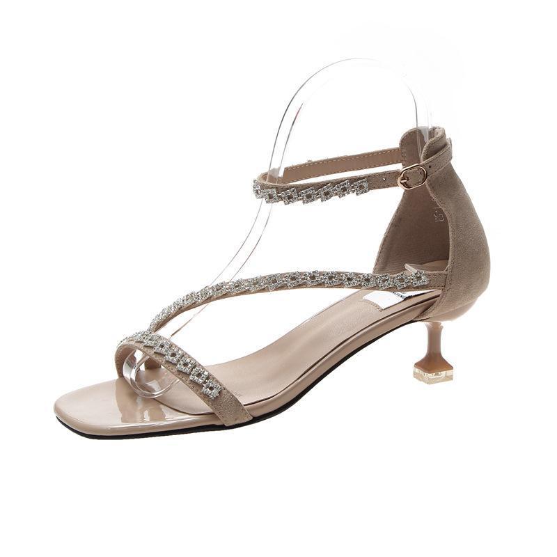 Women's Sandles 2021 Summer Gladiator Crystal Buckle Strap Casual Rome High Heels Sandal Woman Sandals