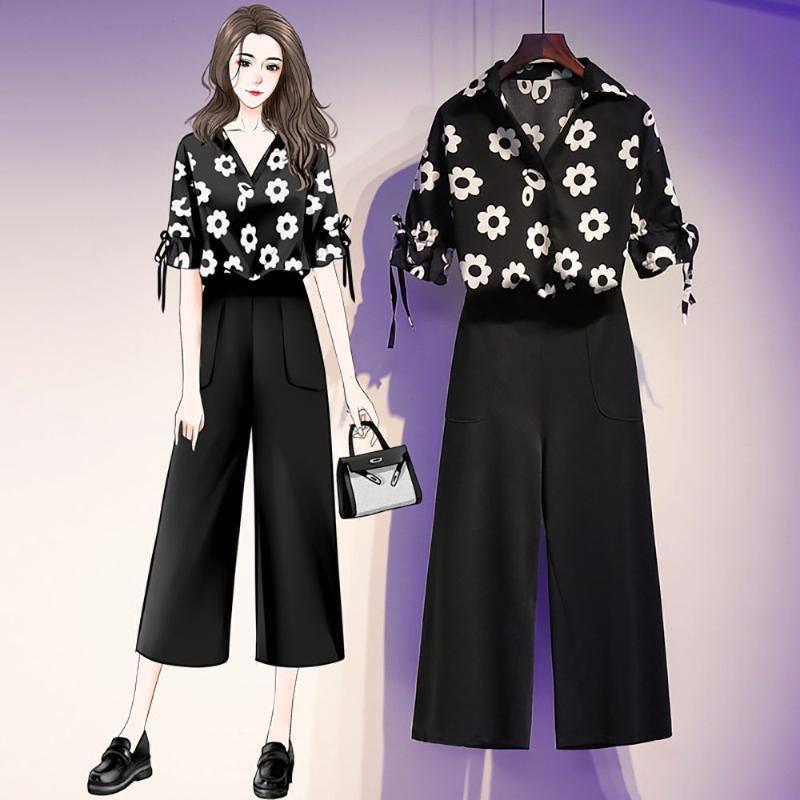 Summer Women's Plus Size 5xl Floral Printed V Neck Blouse Tops + Wide Leg Pants Two Pieces Set Female Clothes Suit Z83 Piece Dress