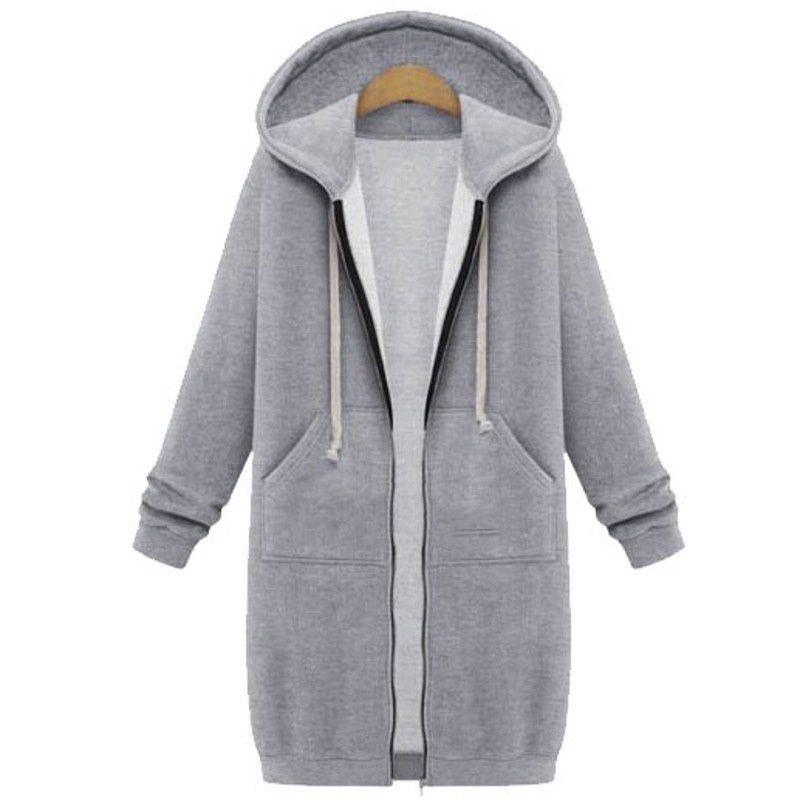 Automne manteau d'hiver Femme Fashion Casual longue fermeture à glissière à capuche à capuche Vintage Outwear manteau 210420