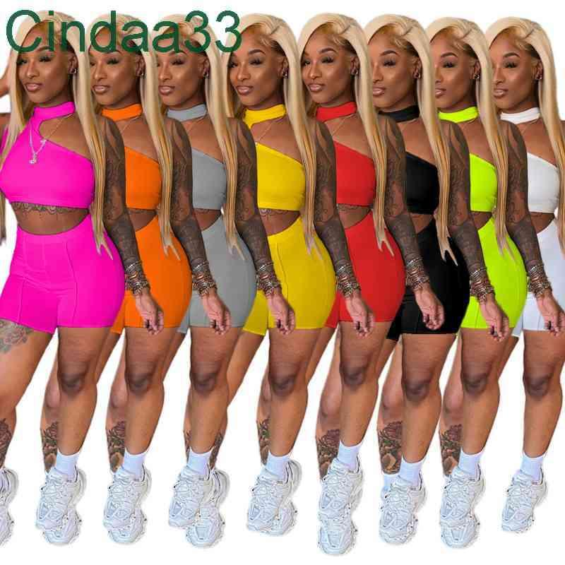 Women Tracksuits Two Pieces Set Designer Slim Sexy Irregular Design Sleeveless Shorts Solid Colour Outfits Sportwear