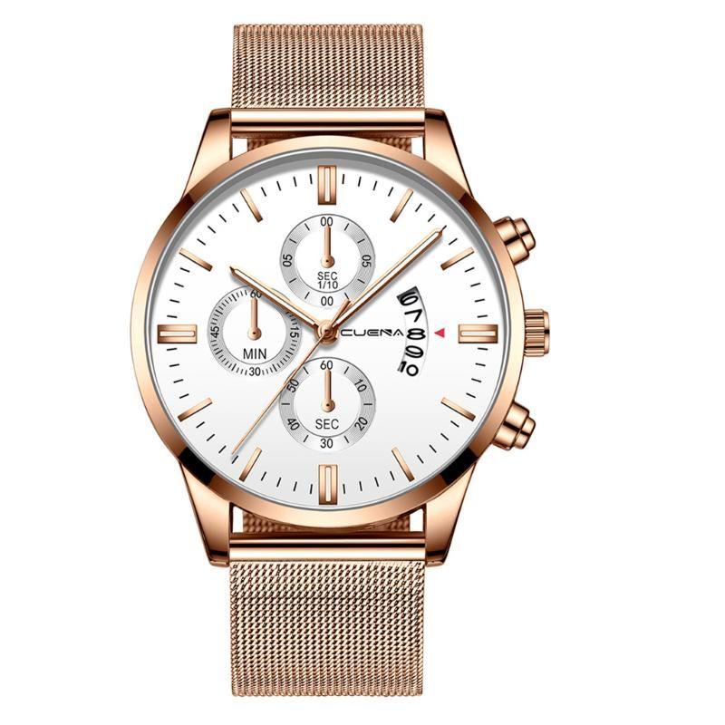 Saatı Cuena erkek Lüks İş Çelik Kemer İzle Üç Gözler Takvim Vintage Kuvars Erkek Reloj Hombre