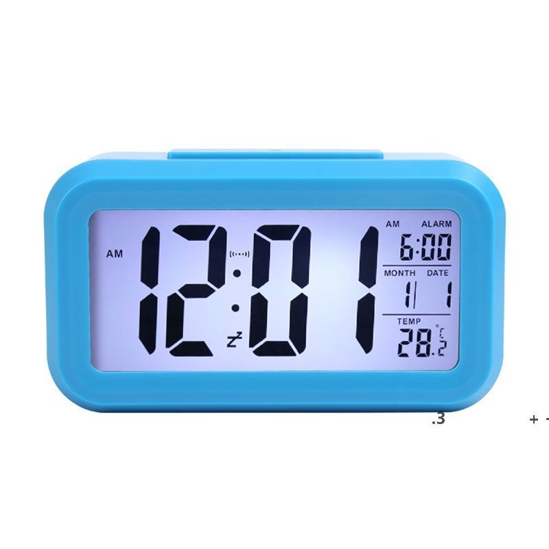 استشعار الذكية ضوء الليل المنبه الرقمي مع درجة حرارة ميزان الحرارة التقويم، الصمت مكتب الجدول على مدار الساعة السرير استيقظ غفوة EWE5906