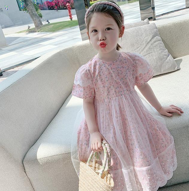 Vestidos de niña MIHKALEV 3 COLOURS NIÑOS Vestido de verano 2021 Baby Girl Voile Tulle Tutu para niños Ropa de chicas de fiesta floral