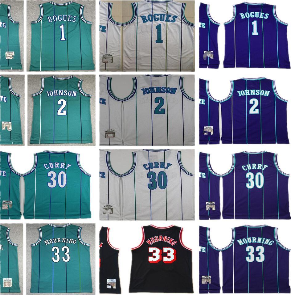 1992-93 Mitchell y Ness Baloncesto Tyrone1Muggsy Jerseys cosido Larry2Johnson Dell30Curry Alonzo33Mourning Retro negro blanco verde púrpura