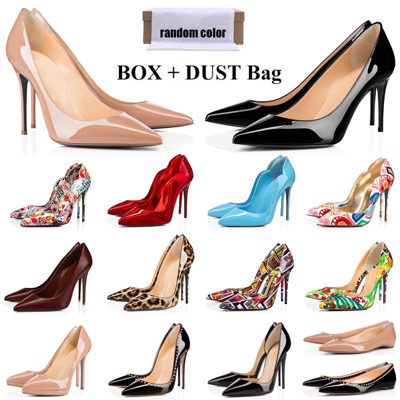 red bottoms Mode designer de luxe femmes chaussures talons hauts rouge bas donc style kate orteils pointus ronds pompes bas robe baskets