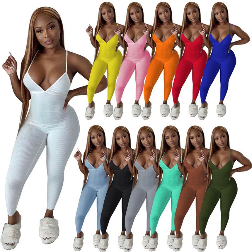 Женщины спагетти ремешок комбинезон летняя одежда Onesie Sexy Rompsers тощие боды твердого цвета цельные брюки 5385