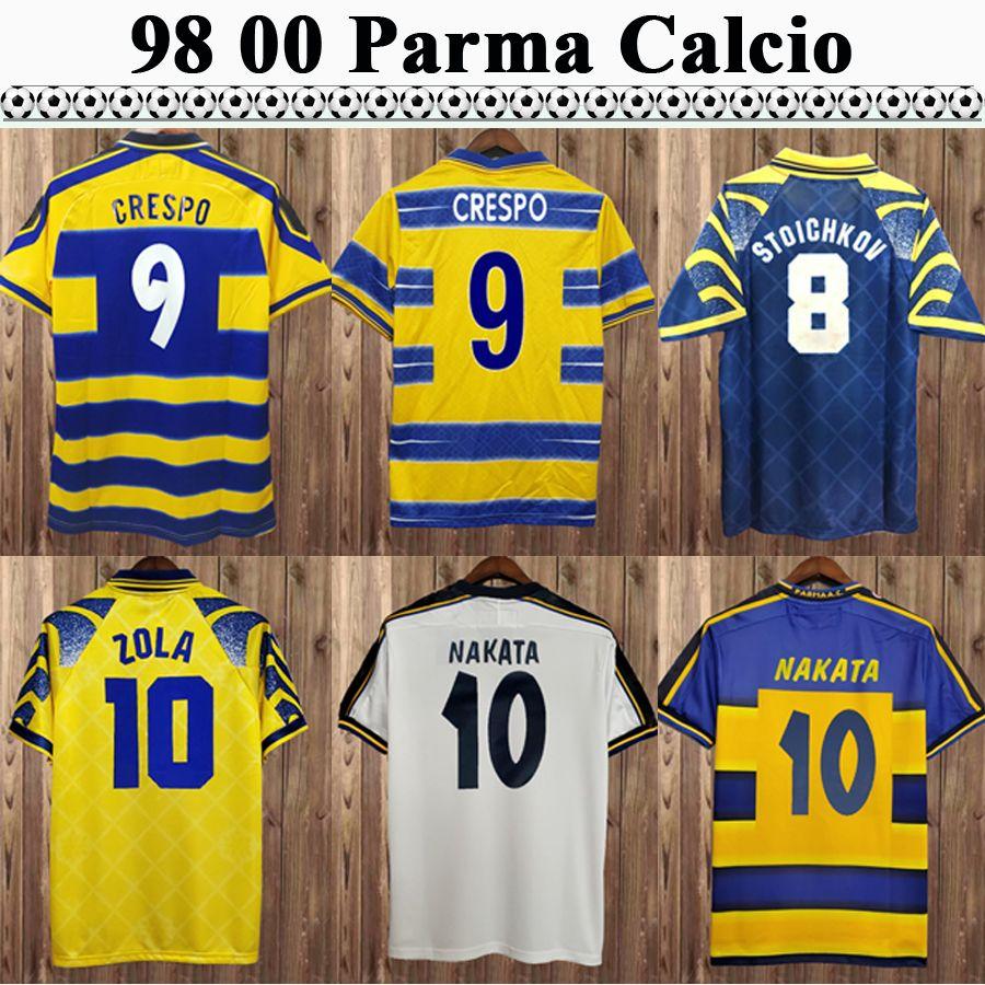 98 99 00 Parme Calcio Hommes Soccer Jerseys Crespo Cannavaro Baggio ASPRALA Home Shirt de football Home Sleeve Uniforms Maglie Da Calcio