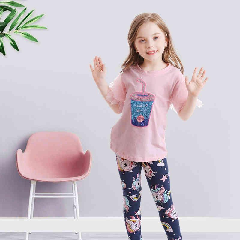 Nnjxd meninas vestuário conjunto para casual 2 pcs tops e leggings para meninas 3-8t algodão casual desgaste crianças roupas crianças roupas 210427