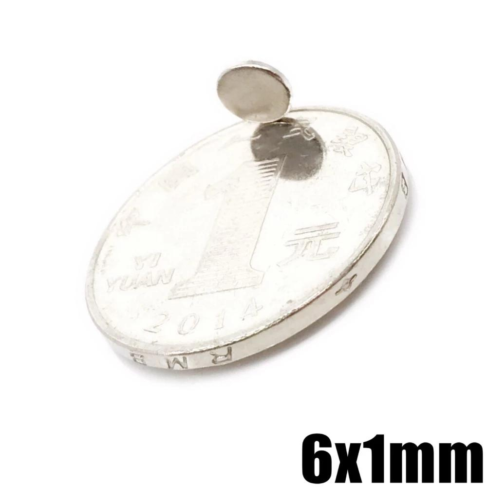 Wholesale - In Stock 1000pcs Strong Round NdFeB Magnets Dia 6x1mm N35 Rare Earth Neodymium Permanent Craft/DIY Magnet