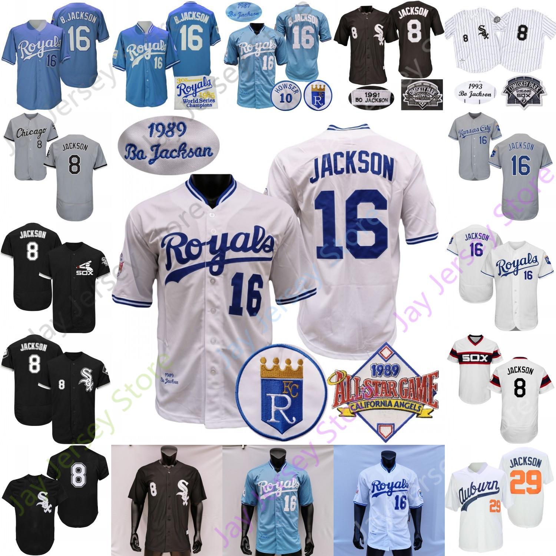 Bo Jackson Jersey Vintage 1985 Geri Dön Geri 1987 1989 Beyaz Cooperstown Koleji Beyzbol ASG Yama Gri Siyah Boyutu S-3XL