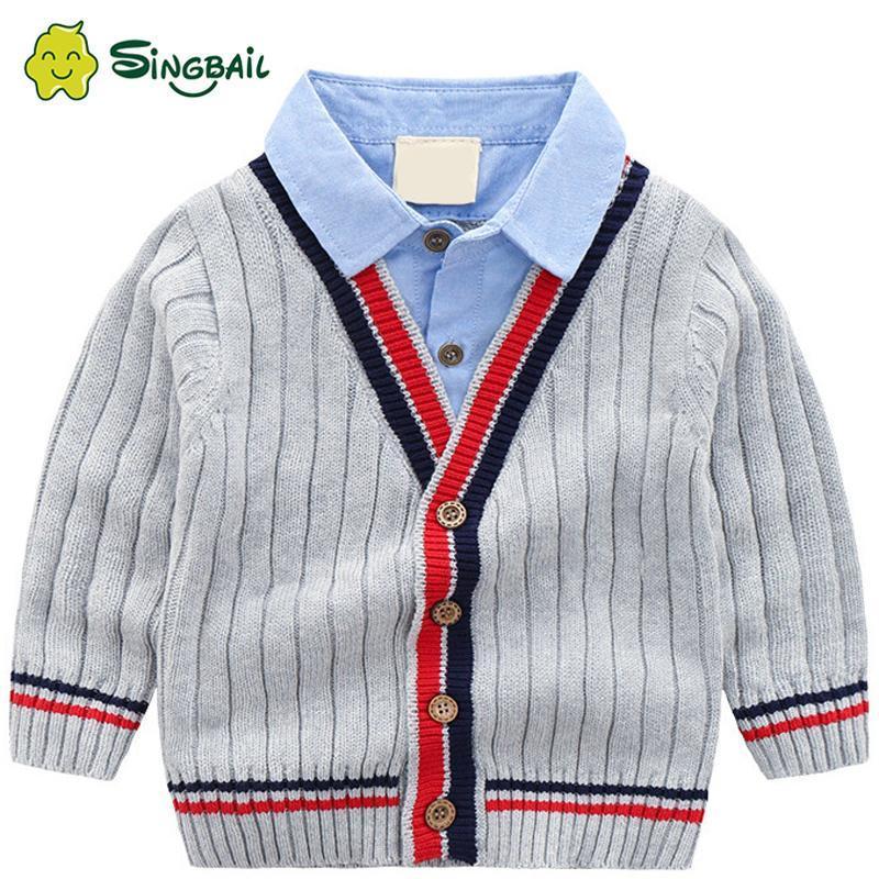 아기 소년 카디 건 스웨터 2021 가을 어린이 의류 V 목 스트라이프 아이 니트 패션 코트 크리스마스 연도 스웨터 YX