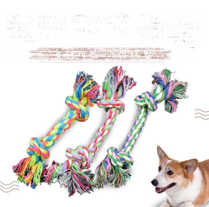 Animais de estimação cão algodão mastigo nó corda brinquedos coloridos duráveis cordas de osso trançadas 18 cm engraçado cachorro cachorro filhote de cachorro molar haste ferramenta de escova de dentes