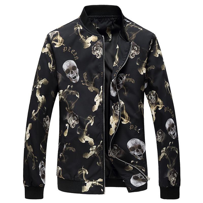 Jacke Männer Blume Print Bomber Mode Slim Mens Jacken und Mäntel Chaquetas Hombres jaquetas Plus Size Herren