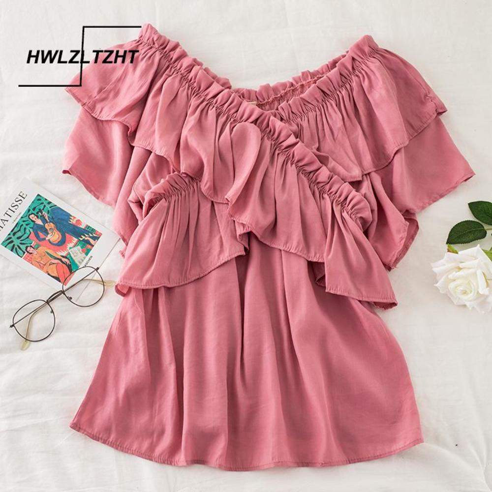 HWLZLTZHT Summer Ruffles Women Blouses Fashion V-Neck Lady Shirt Tops Sweet Loose 2021 Chiffon Blouses Female Shirts
