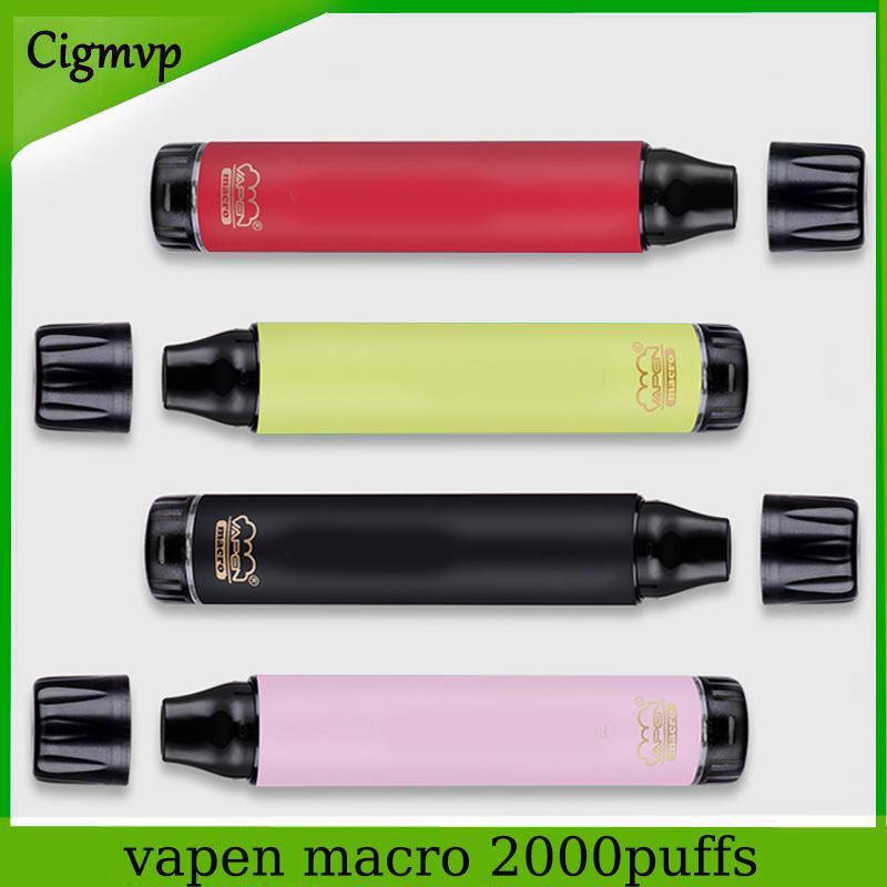 정통 VAPEN 매크로 일회용 전자 담배 2000 퍼프 장치 850mAh 수직 코일 바닥에 공기 흐름 기화기 미리 채워진 막대기 기화기 에어 바 최대 ezzy lux