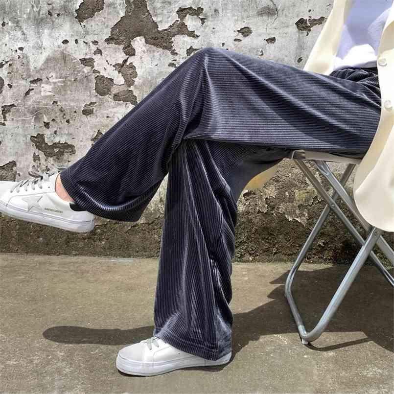 XS-XL 겨울 벨벳 두꺼운 똑바로 넓은 다리 여자 바지 가을 streetwear 세련된 바지 여성 높은 허리 플러스 크기 느슨한 210423