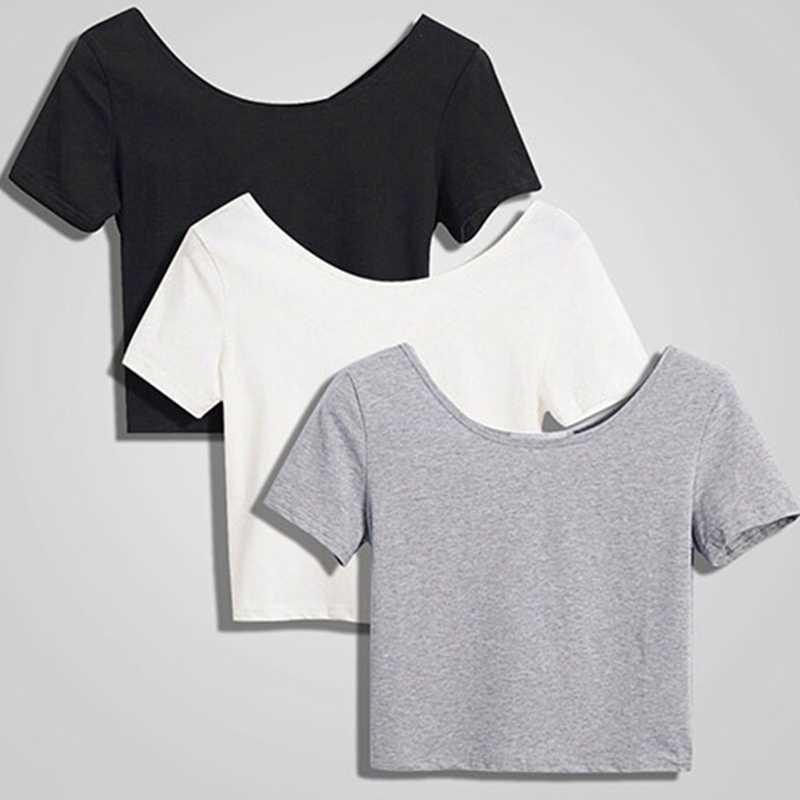 Kurzarm Nabel Feste Frauen Casual Sommer T-shirt Mädchen 2020 T-Shirt TREAT TOP T-Shirt Drop Shipping Y0601