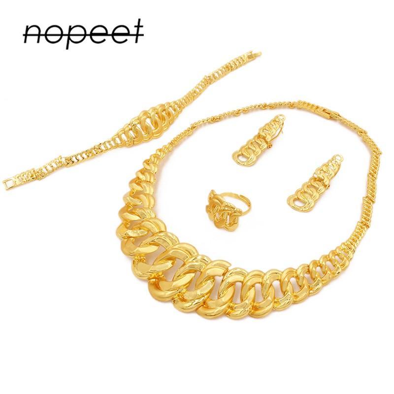 Conjuntos de joyas de colores de oro de 24k para mujeres Bridal Collar de lujo Pendientes Pulsera Anillo Ajuste Indian African Wedding Ornament Regalos1011 T2