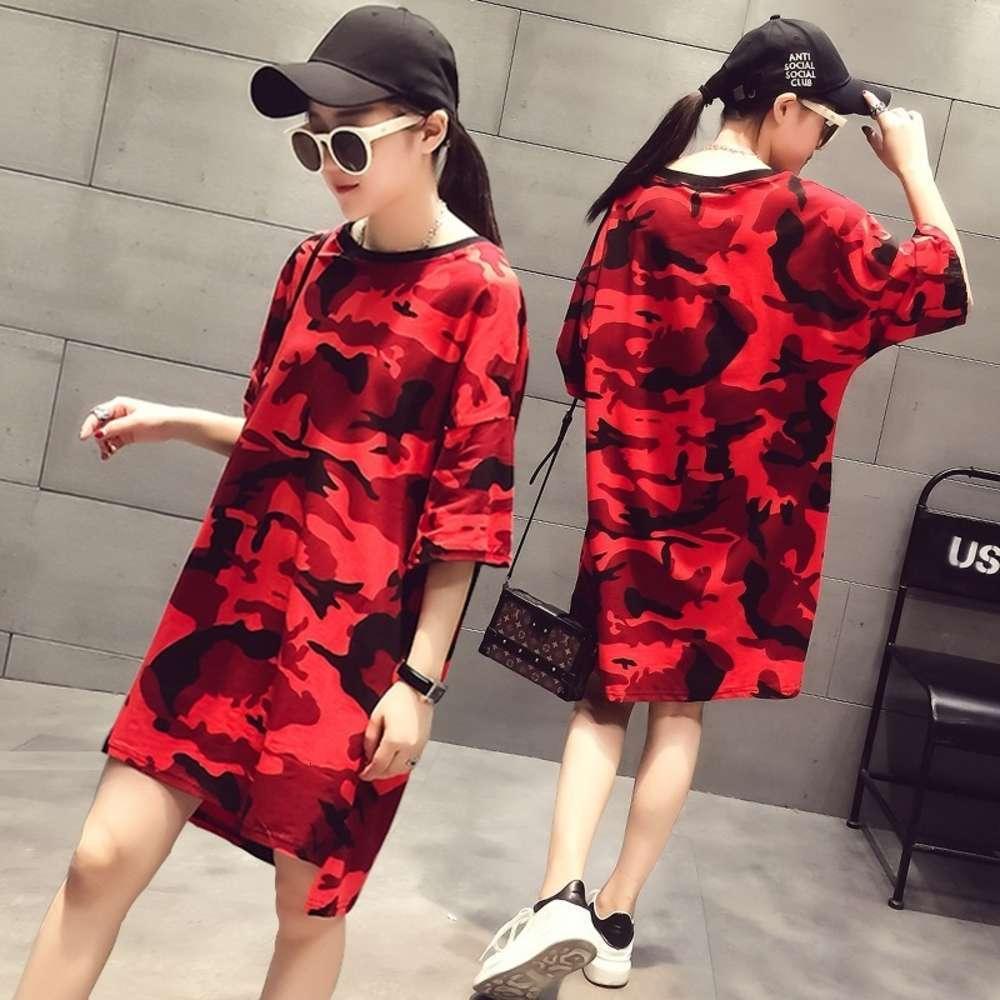 Produit européen Camouflage Version coréenne NET Rouge Grand T-shirt Femme Lâche manches courtes Moyenne Étudiante Etudiante BF Haajuku Robe