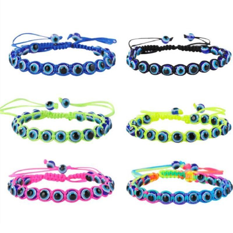 Main Turquie Blue Evil Eye Charm Bracelets pour Femmes Tressed String Corde Fatima Beads Chaîne Bijoux de mode