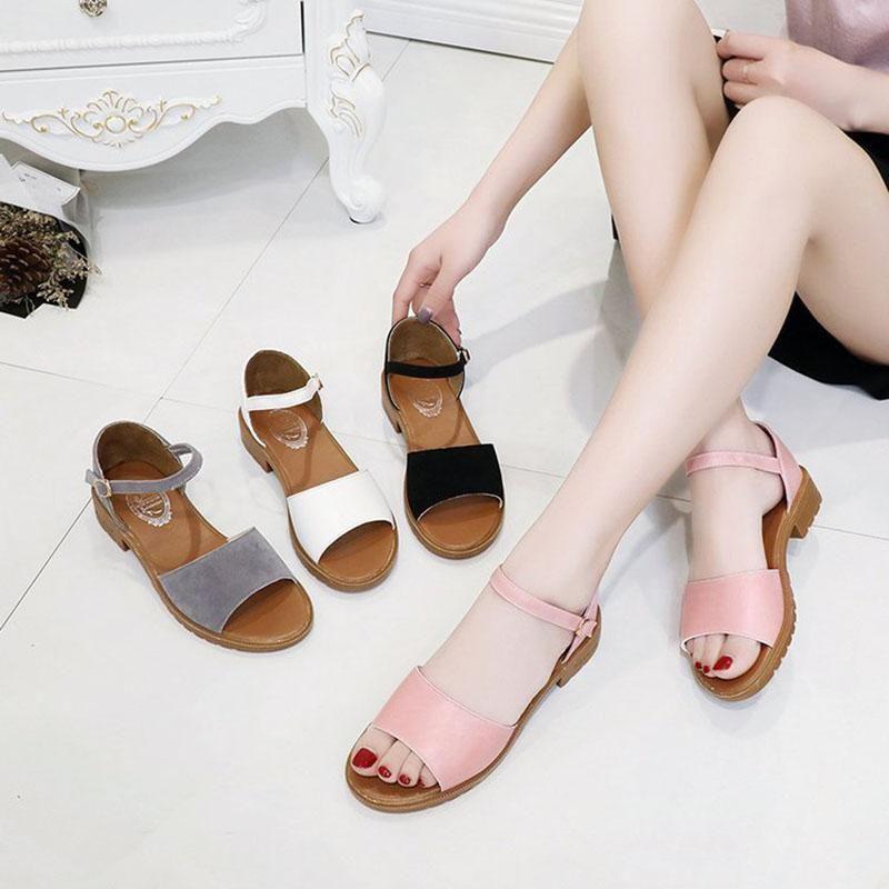 Sandalias de verano Mujeres Color de Color Plano Suave PU Cuero Grueso Zapatos de abajo Zapatos Mujer Zapatillas