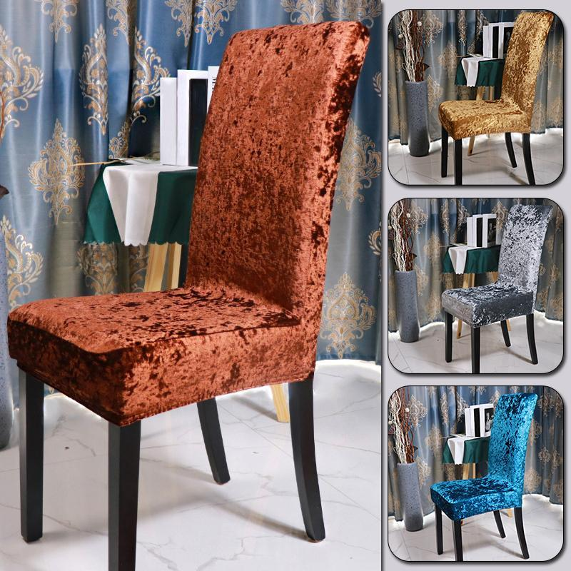 Chair Covers Style Velvet Shiny Fabric Cover Universal Size Stretch Slipcovers Elastic Seat Restaurant Banquet El
