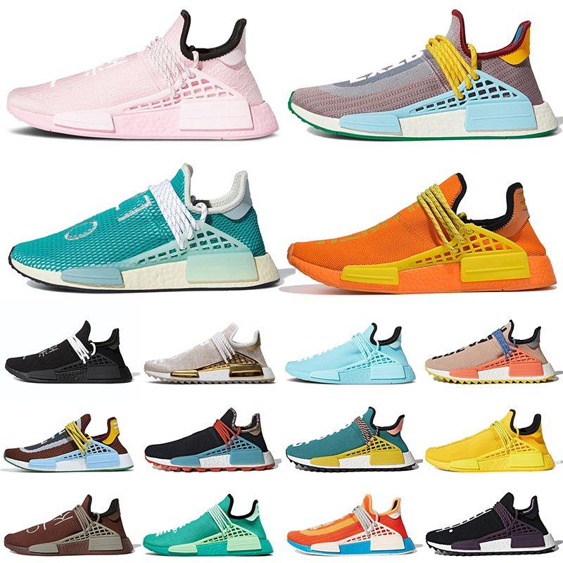 36-47 Cheap Discount PW 2019 Pharrell Williams raça humana Running Shoes BBC manta verde Coração Mente Nerd Branco Azul Igualdade Sapatilhas OFF