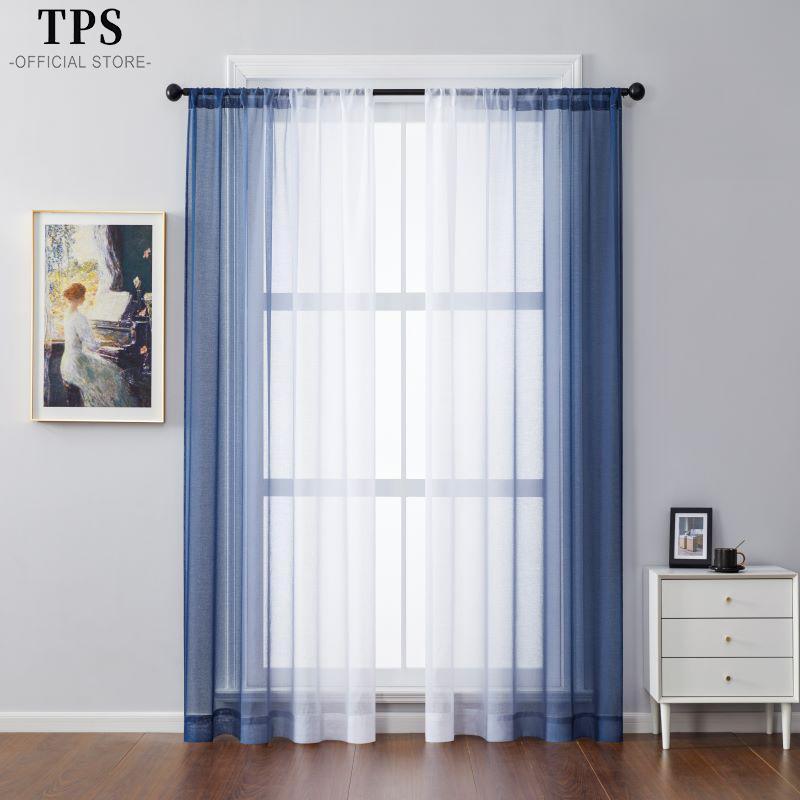 높이 400cm 두 조각 거실 침실에 대 한 그라디언트 얇은 명주 그라데이 커튼 침실 Organza Voile 커튼 윈도우 트리트먼트 패널 커튼